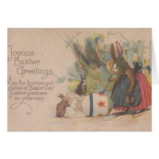 Coelhos da páscoa do vintage cartão comemorativo