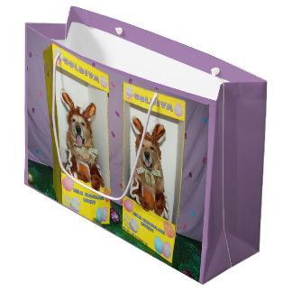 Coelhos do chocolate do golden retriever para a sacola para presentes grande