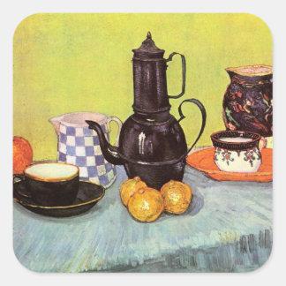 Coffeepot azul do esmalte de Van Gogh, produto de Adesivo Quadrado