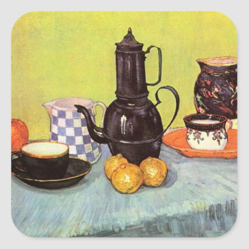 Coffeepot azul do esmalte de Van Gogh, produto de Adesivo Em Forma Quadrada