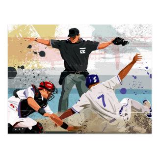 Cofre forte do jogador de beisebol na placa home cartão postal