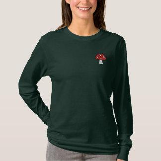 Cogumelo vermelho t-shirt longo bordado da luva