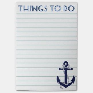 Coisas náuticas da âncora para fazer notas de bloco de notas