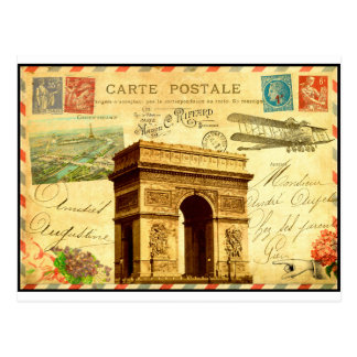 Colagem antiga Paris do cartão de Arco do Triunfo