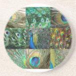 Colagem azul verde da foto do pavão porta copos