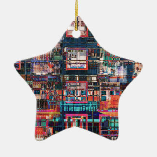 Colagem colorida das construções ornamento de cerâmica