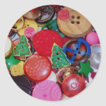 Colagem com os botões da árvore de Natal Adesivo Redondo