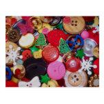 Colagem com os botões da árvore de Natal Cartões Postais