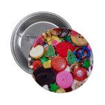 Colagem com os botões da árvore de Natal Pins