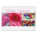 Colagem cor-de-rosa de cumprimento da páscoa alemã cartoes