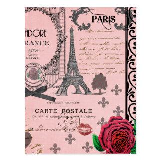 Colagem cor-de-rosa de Paris do vintage Cartões Postais
