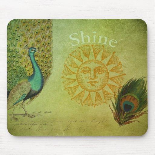 Colagem da arte do pavão do vintage mousepad