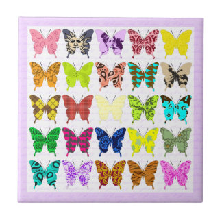 Colagem da borboleta azulejos de cerâmica