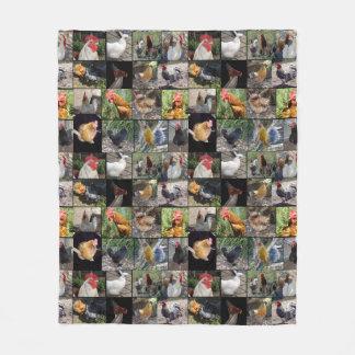 Colagem da foto da galinha, cobertura média do cobertor de velo