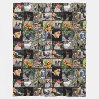 Colagem da foto da galinha, grande cobertura do cobertor de velo