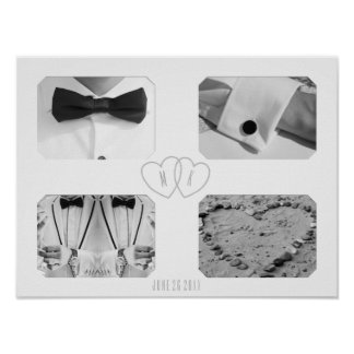 Colagem da foto do casamento com poster do pôster