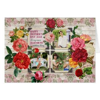 Colagem da foto do vintage de Instagram dos rosas Cartão