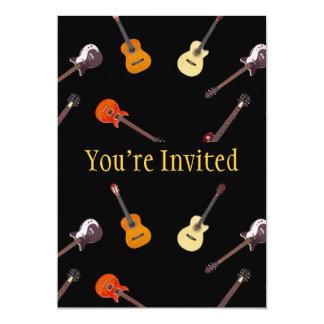 Colagem da guitarra elétrica & acústica convite 12.7 x 17.78cm