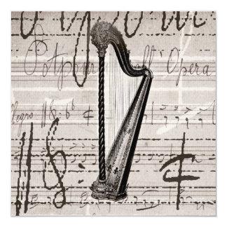 Colagem da harpa do vintage e da música da convite quadrado 13.35 x 13.35cm