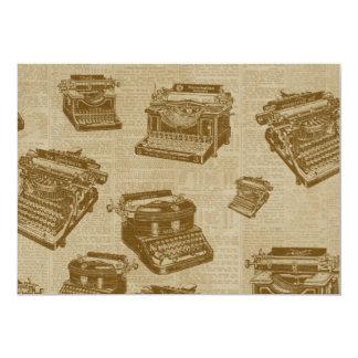 Colagem da máquina de escrever do vintage convite personalizado