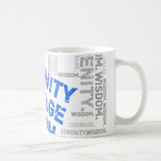 Colagem da palavra da sabedoria da coragem da caneca de café