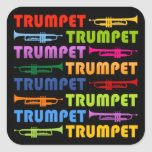Colagem da trombeta adesivo em forma quadrada