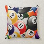 Colagem das bolas de bilhar travesseiro de decoração