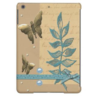 Colagem das borboletas e das pérolas do metal capa para iPad air