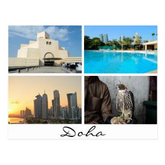 Colagem de 4 fotos no cartão de Doha