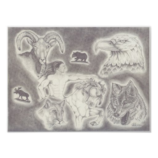 Colagem de animais selvagens com cavalo louco posteres