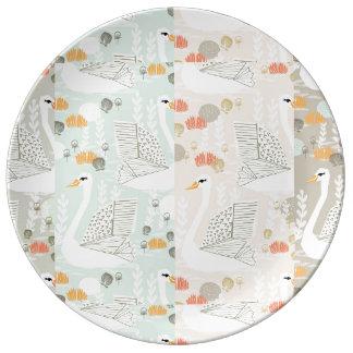 Colagem de Geo da lagoa do lírio da cisne Pratos De Porcelana