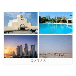 Colagem de quatro paisagens no cartão de Qatar