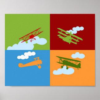 Colagem do avião no azul, no verde do redm e na la pôsteres