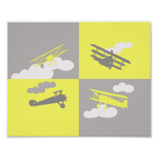Colagem do avião no cinza e no amarelo pôster