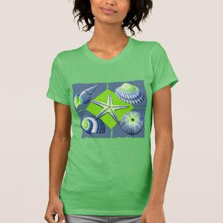 Colagem do azul & do verde limão da ardósia dos camiseta