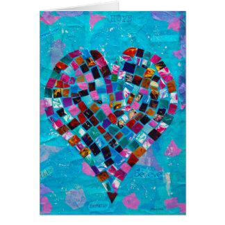 Colagem do coração do mosaico cartão comemorativo