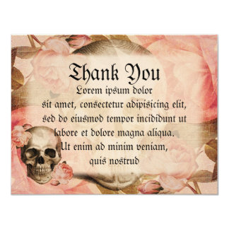 Colagem do crânio de Rosa do vintage Convite 10.79 X 13.97cm