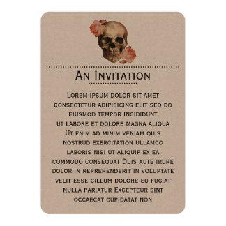 Colagem do crânio de Rosa do vintage Convite 12.7 X 17.78cm