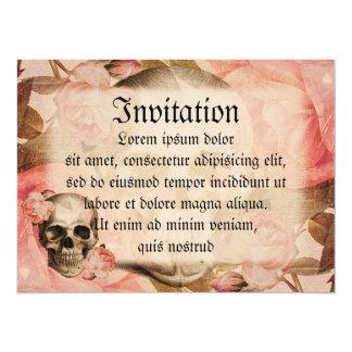 Colagem do crânio de Rosa do vintage Convite 13.97 X 19.05cm