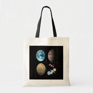 Colagem do sistema solar dos planetas bolsa tote