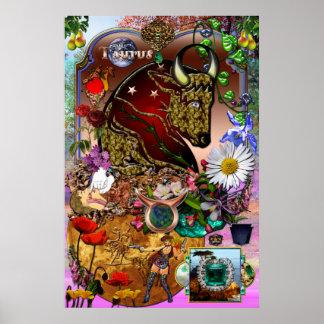 Colagem do zodíaco do Taurus Poster
