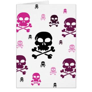 Colagem dos crânios dos desenhos animados - rosa cartao