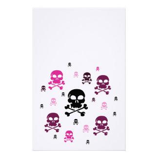 Colagem dos crânios dos desenhos animados - rosa papel personalizados