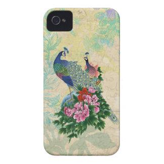 Colagem elegante do pavão do vintage capas para iPhone 4 Case-Mate