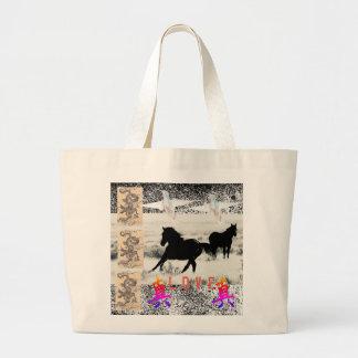 Colagem enorme do cavalo selvagem do bolsa