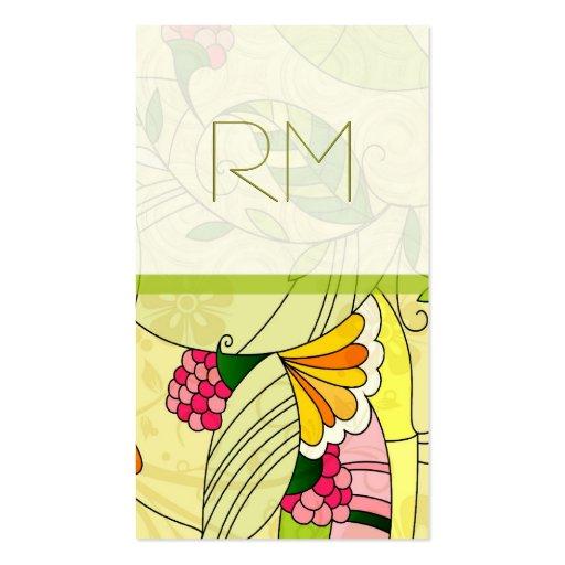 Colagem floral abstrata retro colorida cartoes de visitas