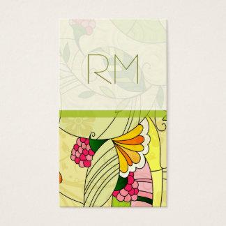 Colagem floral abstrata retro colorida cartão de visitas