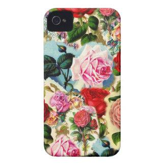 Colagem floral chique bonito do jardim de rosas do capinha iPhone 4