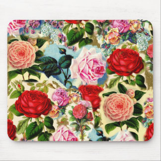 Colagem floral chique bonito do jardim de rosas do mouse pad