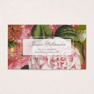 Colagem floral da camélia do vintage cartão de visitas